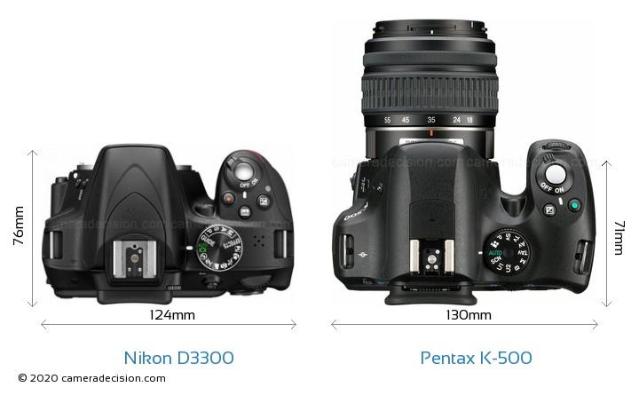Nikon D3300 vs Pentax K-500 Camera Size Comparison - Top View