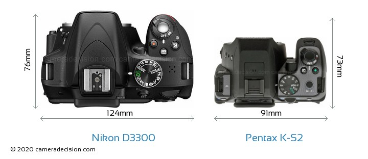 Nikon D3300 vs Pentax K-S2 Camera Size Comparison - Top View