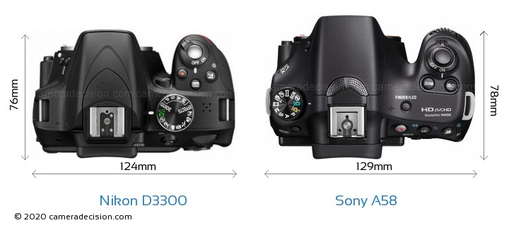 Nikon D3300 vs Sony A58 Camera Size Comparison - Top View
