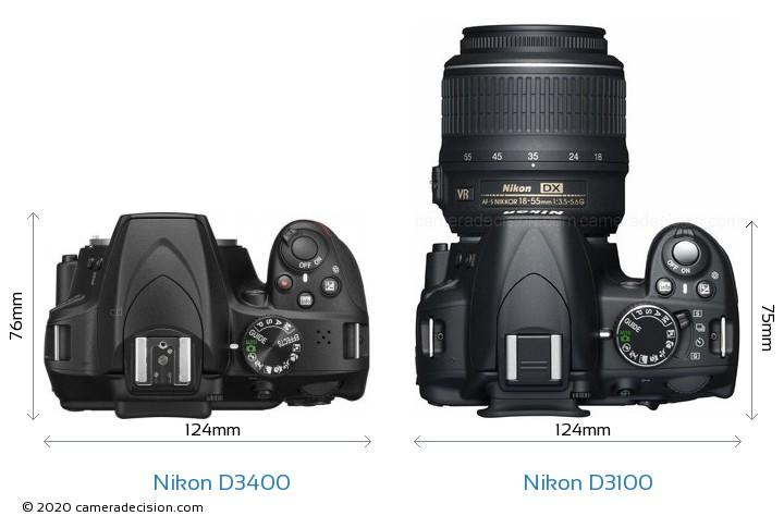 Nikon D3400 vs Nikon D3100 Camera Size Comparison - Top View