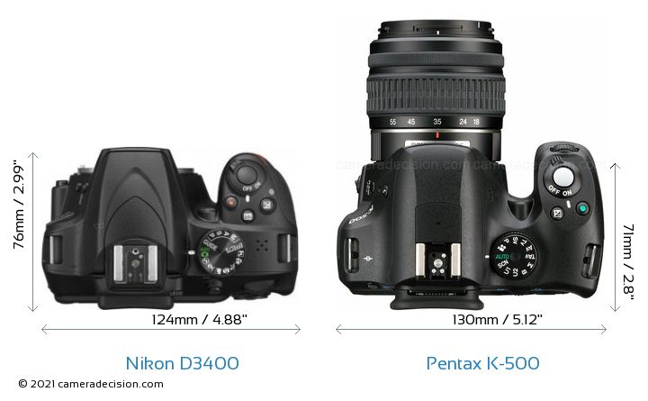 Nikon D3400 vs Pentax K-500 Camera Size Comparison - Top View