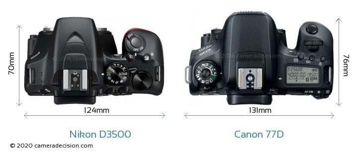 Nikon D3500 vs Canon 77D Camera Size Comparison - Top View