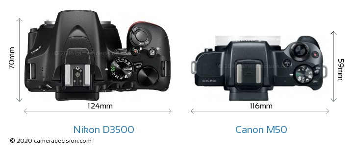 Nikon D3500 vs Canon M50 Camera Size Comparison - Top View