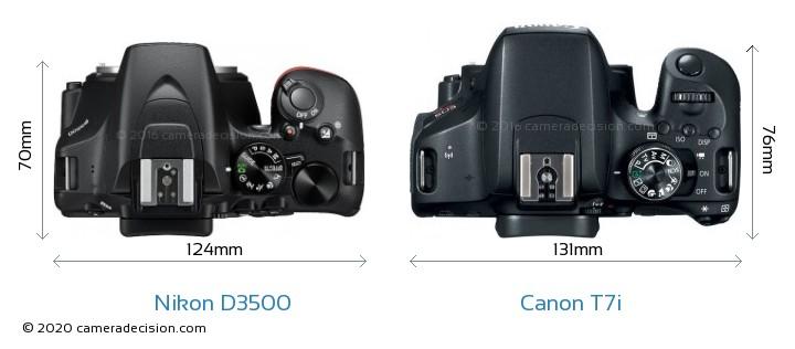 Nikon D3500 vs Canon T7i Camera Size Comparison - Top View