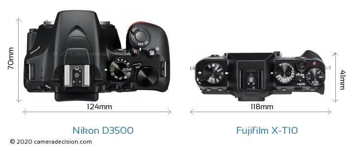 Nikon D3500 vs Fujifilm X-T10 Camera Size Comparison - Top View