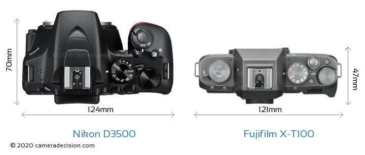 Nikon D3500 vs Fujifilm X-T100 Camera Size Comparison - Top View