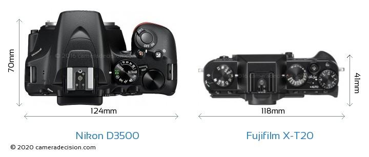 Nikon D3500 vs Fujifilm X-T20 Camera Size Comparison - Top View
