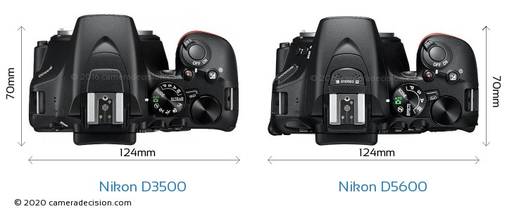 Nikon D3500 vs Nikon D5600 Camera Size Comparison - Top View