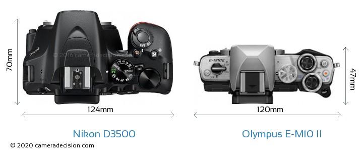 Nikon D3500 vs Olympus E-M10 II Camera Size Comparison - Top View