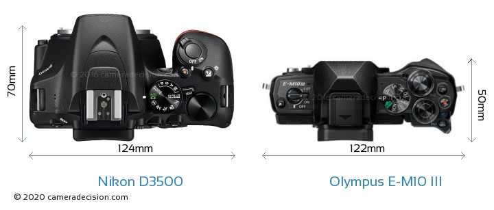 Nikon D3500 vs Olympus E-M10 III Camera Size Comparison - Top View