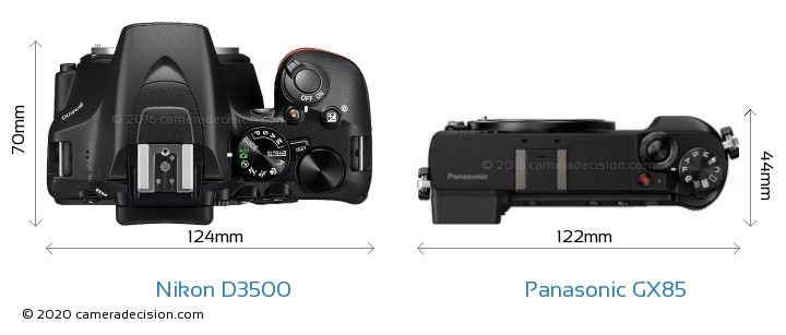 Nikon D3500 vs Panasonic GX85 Camera Size Comparison - Top View