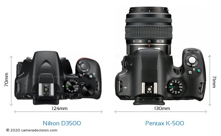 Nikon D3500 vs Pentax K-500 Camera Size Comparison - Top View