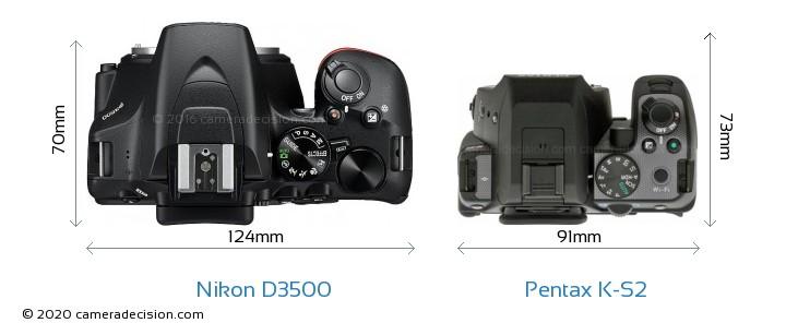 Nikon D3500 vs Pentax K-S2 Camera Size Comparison - Top View