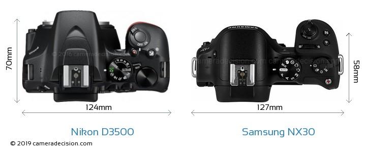 Nikon D3500 vs Samsung NX30 Camera Size Comparison - Top View