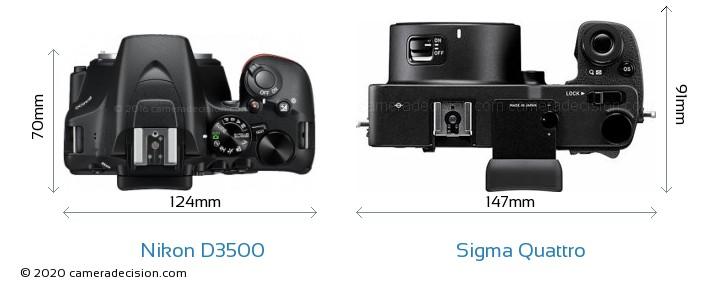 Nikon D3500 vs Sigma Quattro Camera Size Comparison - Top View