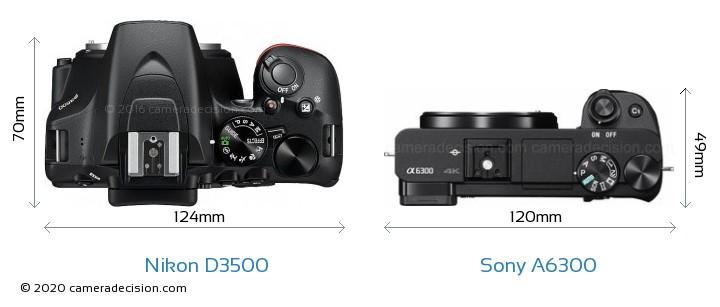 Nikon D3500 vs Sony A6300 Camera Size Comparison - Top View