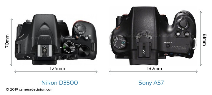 Nikon D3500 vs Sony A57 Camera Size Comparison - Top View