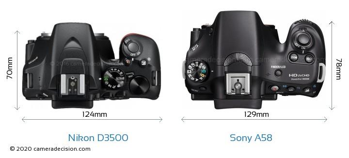 Nikon D3500 vs Sony A58 Camera Size Comparison - Top View
