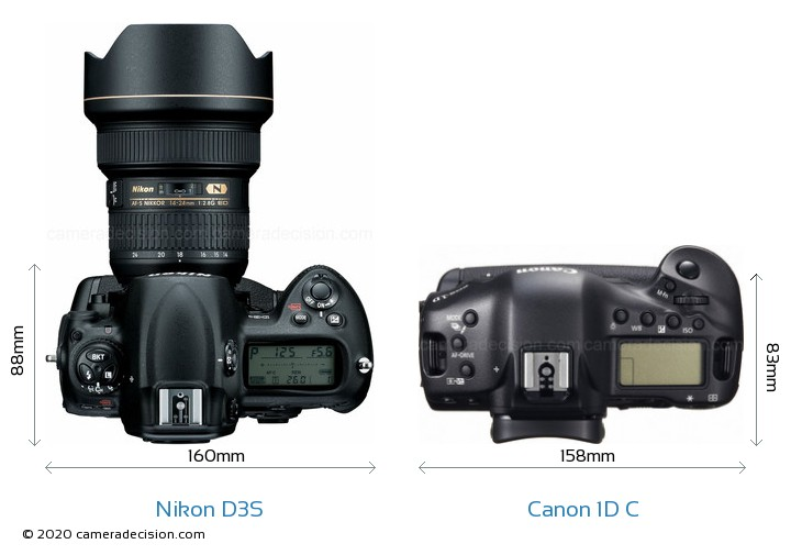 Nikon D3S vs Canon 1D C Camera Size Comparison - Top View