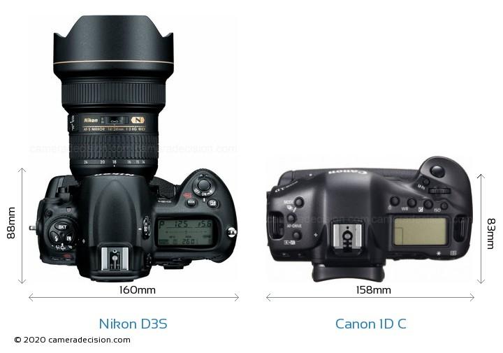 Nikon D3S vs Canon 1D C Camera Size Comparison - Top View