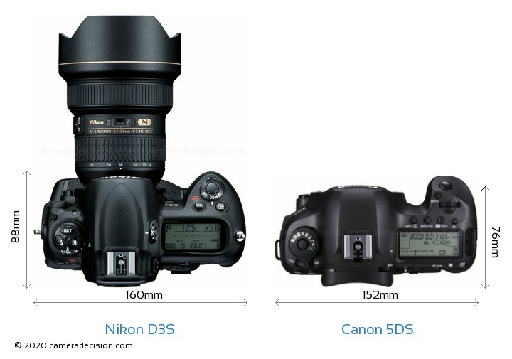 Nikon D3S vs Canon 5DS Camera Size Comparison - Top View