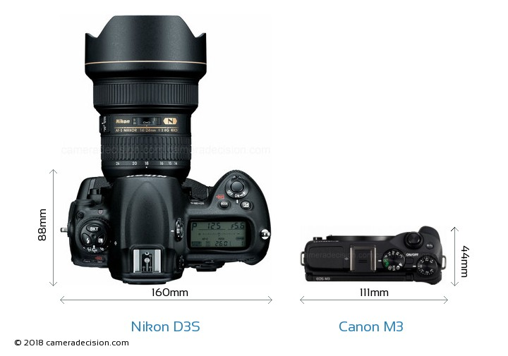 Nikon D3S vs Canon M3 Camera Size Comparison - Top View