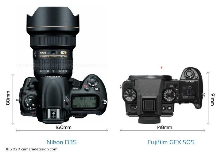 Nikon D3S vs Fujifilm GFX 50S Camera Size Comparison - Top View