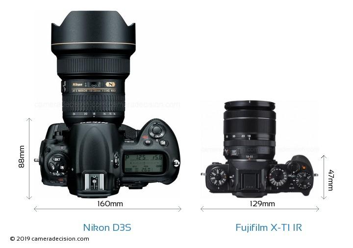 Nikon D3S vs Fujifilm X-T1 IR Camera Size Comparison - Top View