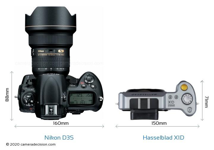 Nikon D3S vs Hasselblad X1D Camera Size Comparison - Top View