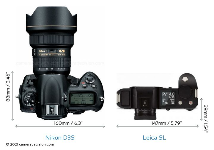 Nikon D3S vs Leica SL Camera Size Comparison - Top View