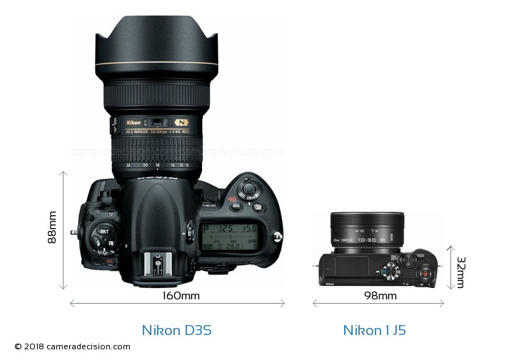 Nikon D3S vs Nikon 1 J5 Camera Size Comparison - Top View