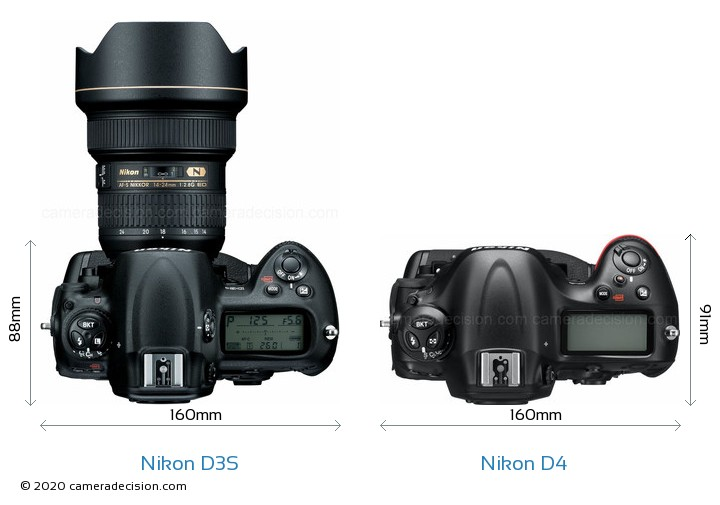 Nikon D3S vs Nikon D4 Camera Size Comparison - Top View