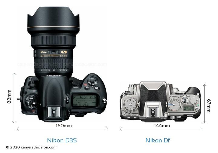 Nikon D3S vs Nikon Df Camera Size Comparison - Top View