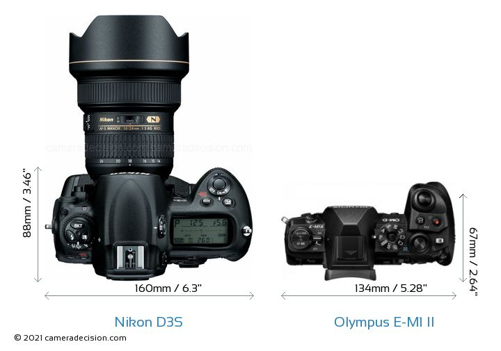 Nikon D3S vs Olympus E-M1 II Camera Size Comparison - Top View