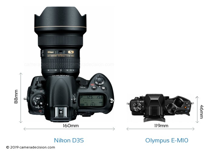 Nikon D3S vs Olympus E-M10 Camera Size Comparison - Top View