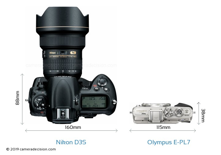 Nikon D3S vs Olympus E-PL7 Camera Size Comparison - Top View