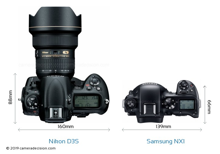 Nikon D3S vs Samsung NX1 Camera Size Comparison - Top View