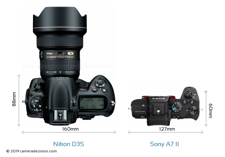 Nikon D3S vs Sony A7 II Camera Size Comparison - Top View
