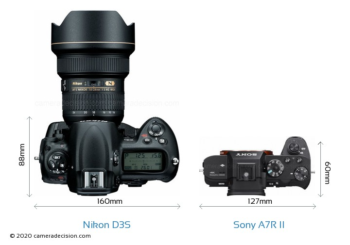 Nikon D3S vs Sony A7R II Camera Size Comparison - Top View