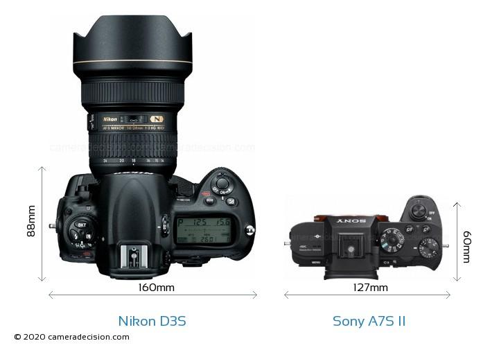Nikon D3S vs Sony A7S II Camera Size Comparison - Top View