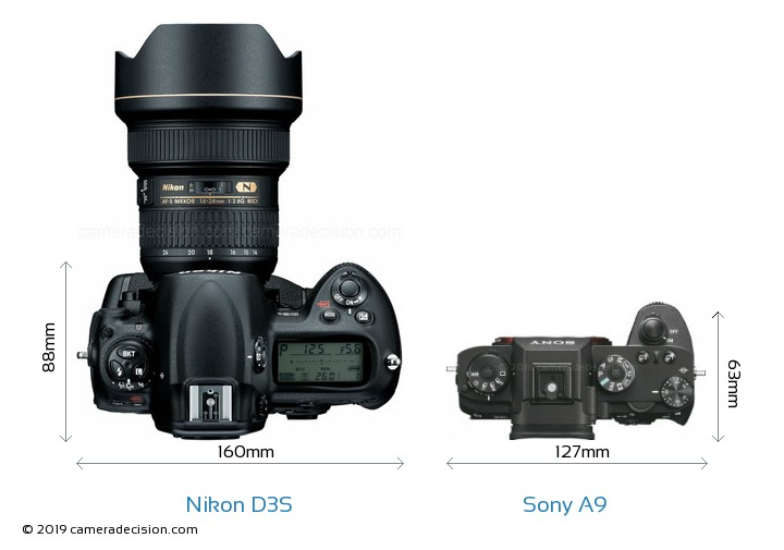 Nikon D3S vs Sony A9 Camera Size Comparison - Top View