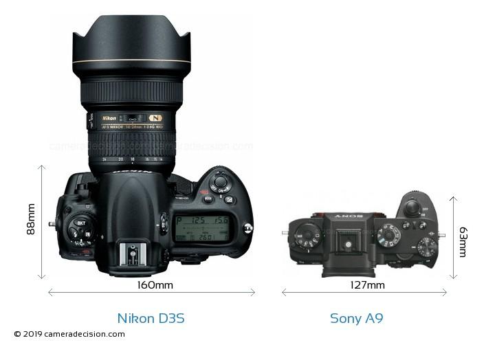 Nikon D3S vs Sony A9 Camera Size Comparison - Top View