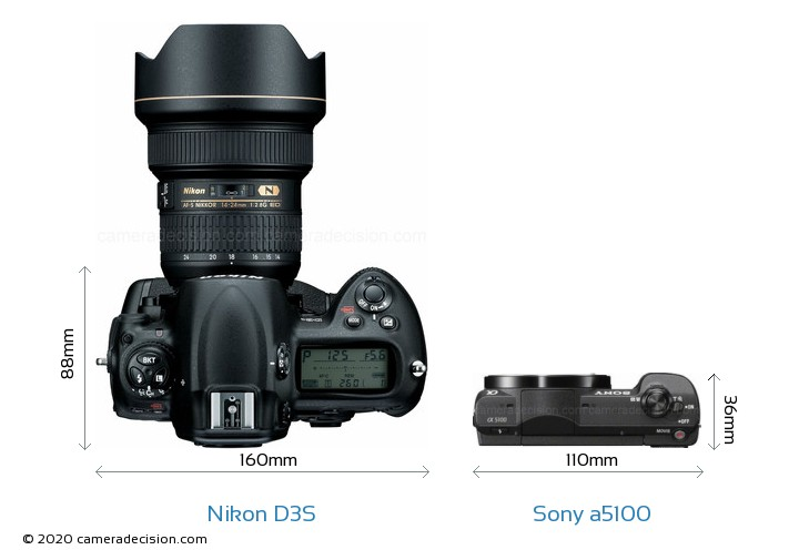 Nikon D3S vs Sony a5100 Camera Size Comparison - Top View