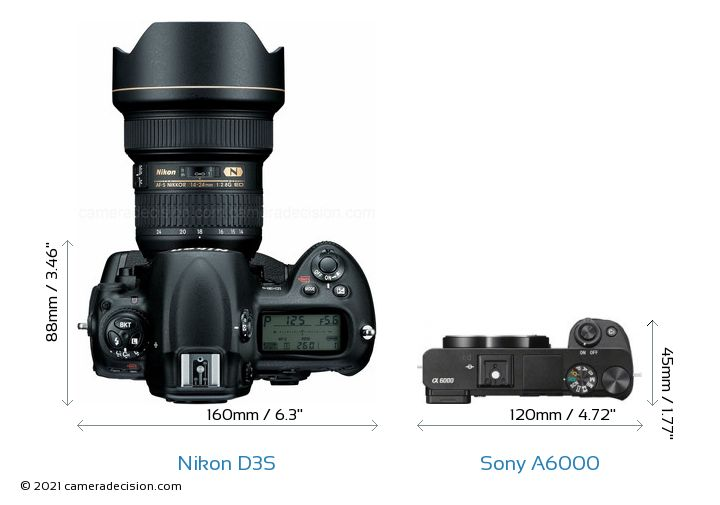 Nikon D3S vs Sony A6000 Camera Size Comparison - Top View