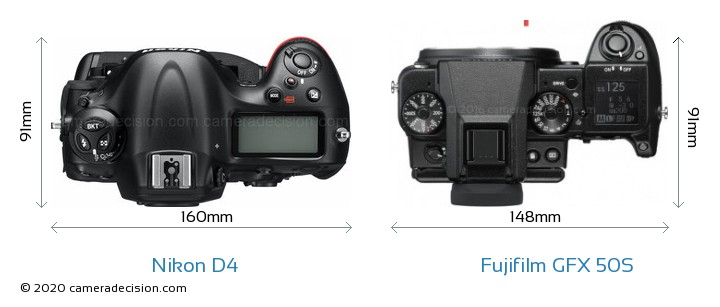 Nikon D4 vs Fujifilm GFX 50S Camera Size Comparison - Top View