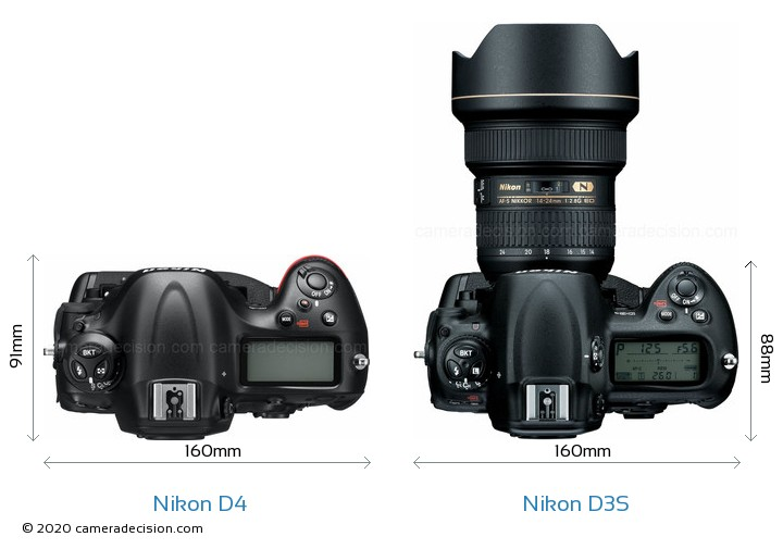 Nikon D4 vs Nikon D3S Camera Size Comparison - Top View