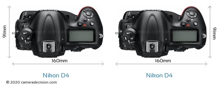 Nikon D4 vs Nikon D4 Camera Size Comparison - Top View