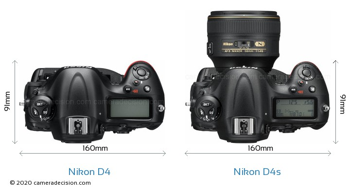 Nikon D4 vs Nikon D4s Camera Size Comparison - Top View