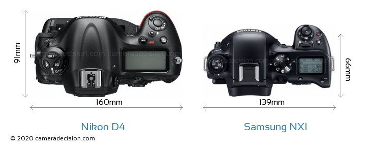 Nikon D4 vs Samsung NX1 Camera Size Comparison - Top View