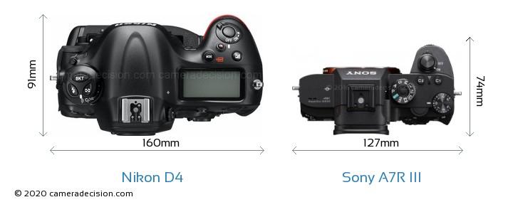 Nikon D4 vs Sony A7R III Camera Size Comparison - Top View
